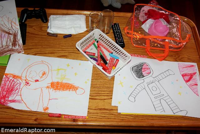 Barnetegning, astronaut