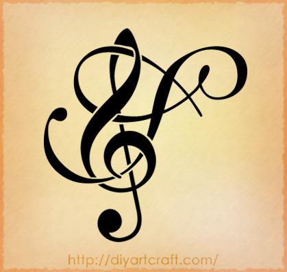 Tatto Galery on Maiuscola Fantasy Con Chiave Di Violino  Versione 1 By Diyartcraft