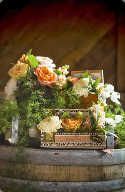 box arrangements julias florals and  La Vie Photography peach-coral-grey-wedding-at-swiftwater-cellars-photo-by-la-vie-photography-26