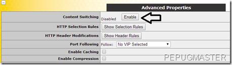 Włączenie content switchingu dla wirtualnej usługi