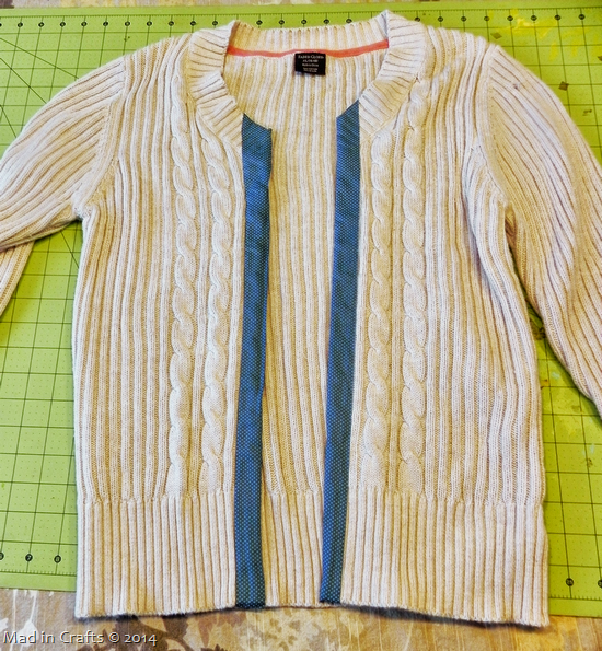 No Sew Cardigan with Contrasting Duck Fabric Trim