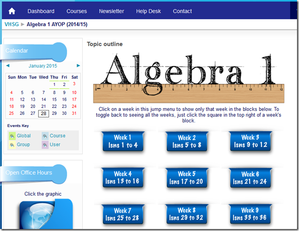 VHSG algebra 1 screenshot