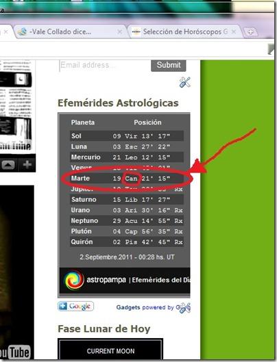 Efemerides Marte en Cancer