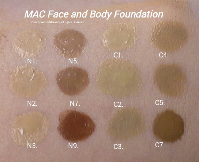 Mac Face and Body Foundation Swatches of Shades N1, N2, N3, N5, N7, N9, C1, C2, C3, C4. C5, C7,