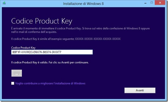 Installazione di Windows 8