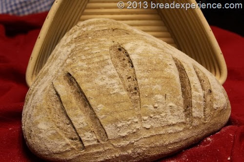 home-milled-loaf in triangle basket