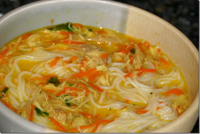 Thai Chicken Noodle Soup (Adapted from here )