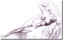 Desen in creion nud feminin