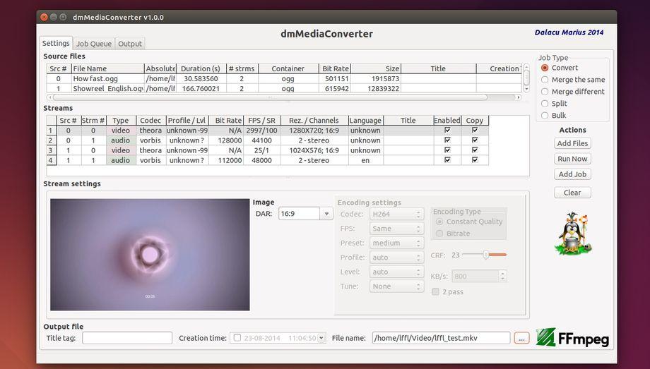 dmMediaConverter 1.0.0 in Ubuntu