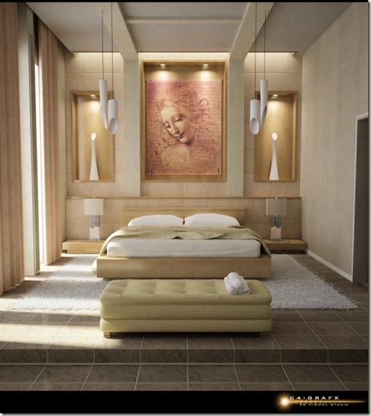 attractive-bedroom-design-with-artistic-wall-art
