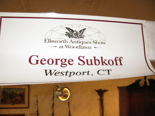 At the Ellsworth Antiques Show at Woodlawn Estate in Maine, we stopped by George Subkoff's area.  George is an old friend of Martha's and a very well regarded antique dealer with a beautiful showroom down the street from Martha's former home, Turkey Hill.