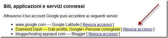 revoca accesso applicazioni google plus
