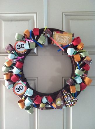 Cheerios and Lattes Party Blower Birthday Wreath