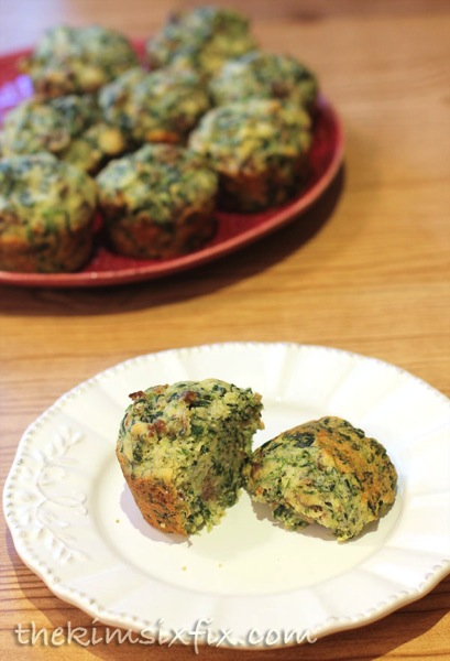 Parmesean spinach cornbread muffins