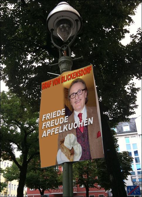 Graf von Blickensdorf Wahlplakat Apfelkuchen