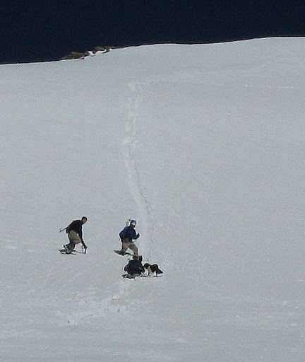 A short, soft glissade down the east face. This slope was so soft that you couldn't get going much.