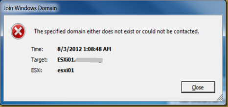 ESXi Join Domain Failed