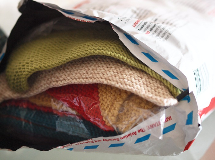 a parcel full of knitted squares