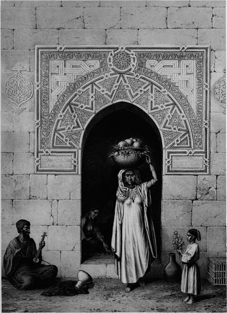 Door of a house on Sha'arawi Street, 14th century. Popular tradition makes this door part of a qadi's house. Ornament was used to forge a spandrel¬like structure; this architectonic device is traced by knots. Domestic architecture provides insight into popular designs similar to heraldic symbols in impenal architecture.