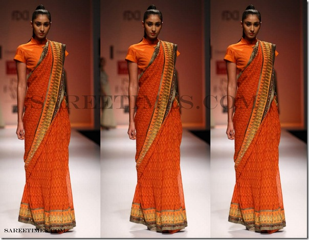 Chandrani_Singh_Flora_Orange_Saree
