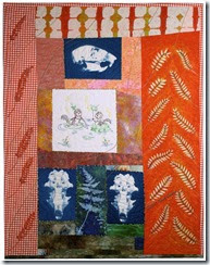 Squirrel and Locust, art quilt by Sue Reno