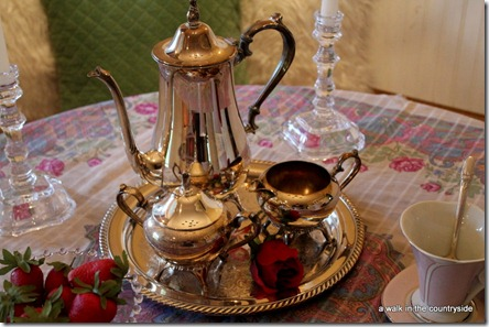 a walk in the countryside: silver tea set