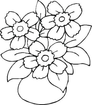 Florero Para Colorear. flores florero y libro para colorear archivo ...