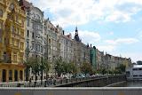 View along the Vltava river, from the Legii bridge