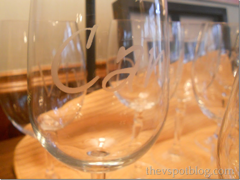 Personalized wine glasses using glass etching cream.