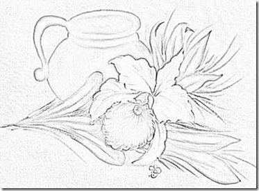 risco orquidea flores pintura em tecido