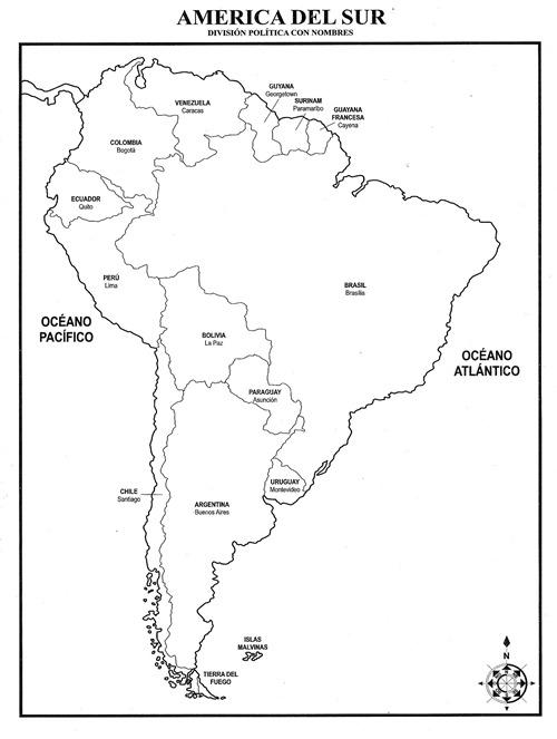 Mapa de América del Sur con división política con nombres