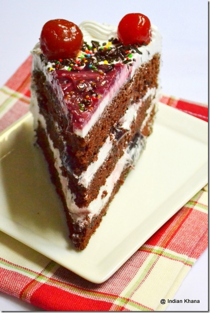 Chocolate spoonge cake with cream frosting black forest recipe