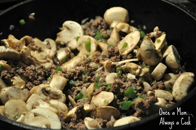 Ground Beef, Onions, Green Peppers, and Mushrooms
