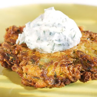Zucchini Fritters with Yogurt-Dill Sauce