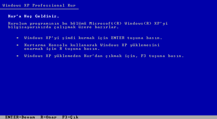 Windows XP Professional Servis Pack 2 Türkçe 32 Bit Full indir
