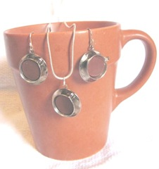 earrings 6.5.2012 coffee cup jewelry on terra cotta mug