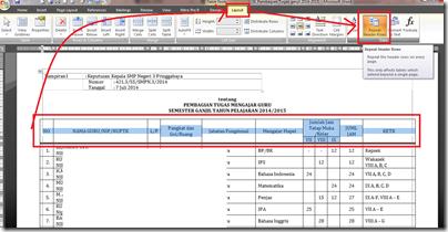 header tabel berulang di tiap halaman