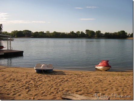 Midwest lake, sand beach, calm water
