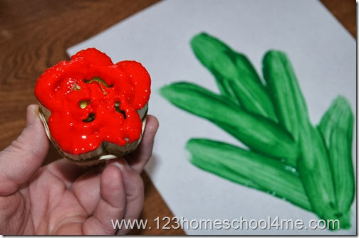 Painting Spring Flower with Celery Craft for Kids