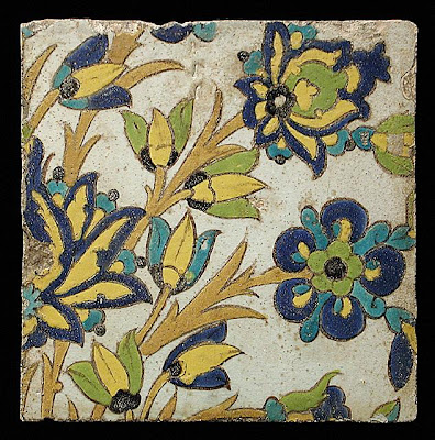 Tile | Origin: Iran, Isfahan | Period:  17th century | Collection: The Nasli M. Heeramaneck Collection, gift of Joan Palevsky (M.73.5.757) | Type: Ceramic; Architectural element, Fritware, cuerda seca technique, 9 1/4 x 9 5/16 in. (23.5 x 23.7 cm)