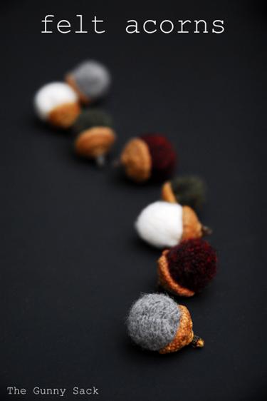 felt acorn row