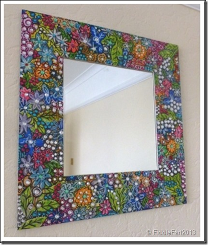 Handpainted jewelled mirror