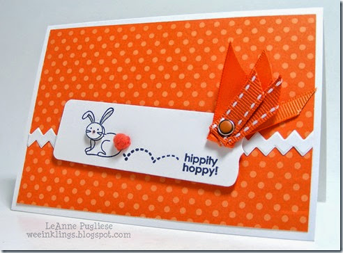 LeAnne Pugliese WeeInklings Monochromatic Bunny Hippity Hoppy Easter Card Stampin 2