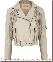 cream fringe cropped leather jacket River island