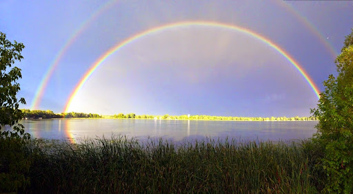Beautiful rainbows over an area lake