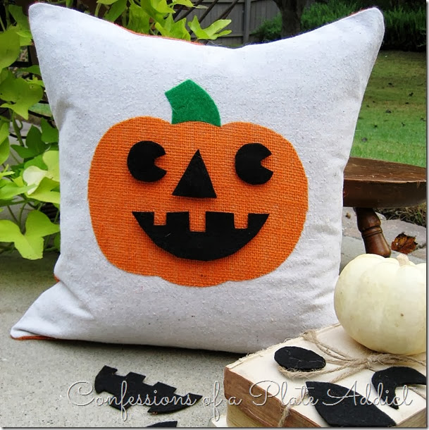 CONFESSIONS OF A PLATE ADDICT Jack-O-Lantern Pillow with Interchangeable Faces
