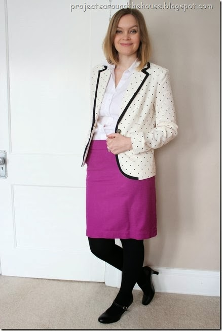 Polka dot blazer with colored skirt