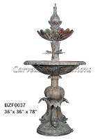 2-Tier Fountain with Fish Pedestal