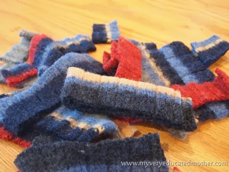2 Wool Sweater in Pieces #DIY #recycledcraft #giftidea #greenliving