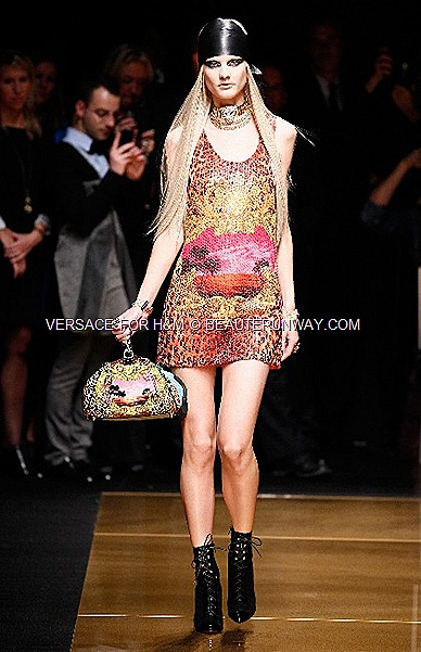 Versace H&M New York Iconic Sequins Dress Runway Show Donatella Versace